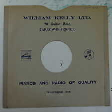 """78rpm 10"""" card gramophone record sleeve / cover WILLIAM KELLY barrow #1"""