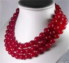 """Natural Charming 8mm Red Ruby 3 Row Gemstone Necklace 17-19"""""""