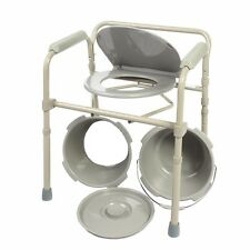 Commode Chair Folding Bedside Chair Commode with Commode Bucket and Splash Guard