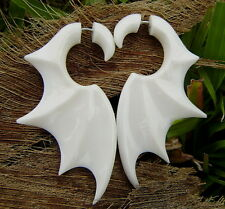 Fake gauge earrings,Organic White Bone Earrings ,tribal style,natural,Bat Wing