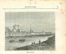 Saumur Chateau Maine-et-Loire FRANCE GRAVURE ANTIQUE OLD PRINT 1882