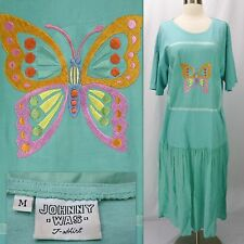 Vintage 90s JOHNNY WAS T-Shirt Dress M Butterfly Embroidered Drop Waist Seafoam