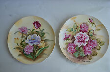vintage victorian hand painted flowers plate collectible signed (two plates)
