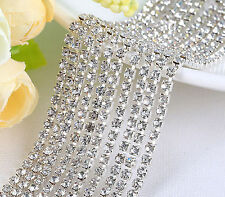 1Row New Sewing Crystal Close Chain Necklace Fabric Trim Craft Silver Tool 1yd