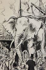 Dessin original de Pierre Rousseau pour Barnum, récit de cirque, éléphant, 1954