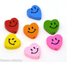 50 Mixed Multicolor Smiling Heart Wood Beads 18x16mm