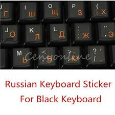 Russian Russia Keyboard Sticker Layout For Black Keyboard White Orange Letters