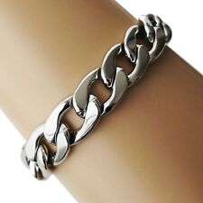 Pulsera de brazo acero inoxidable eslabones chatos enlace Cadena plata