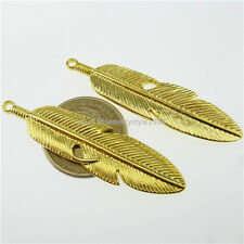 13315 6PCS Gold Tone Alloy Large Feather or Leaf Jewelry Finding Pendant