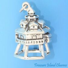 THOMAS POINT SHOAL LIGHTHOUSE 3D .925 Sterling Silver Charm ANNAPPLIS MARYLAND