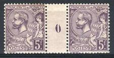 "MONACO STAMP TIMBRE 46 "" PRINCE ALBERT 1er 5F VIOLET PAIRE MILL"" NEUF xxTTB M705"