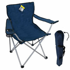 BLUE FOLDING CAMPING CHAIR FESTIVAL HIKING FISHING GARDEN INDOOR OUTDOOR SEAT