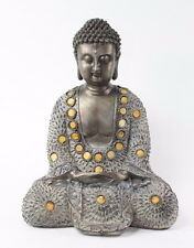 "Feng Shui 10"" Grey/Bronze Buddha Dhyani Mudra Home Decor Peace Statues"