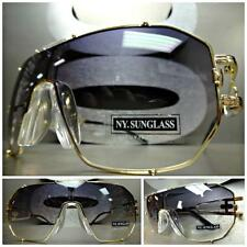 HUGE OVERSIZE VINTAGE RETRO SHIELD Style SUN GLASSES Gold Frame Smoke Clear Lens