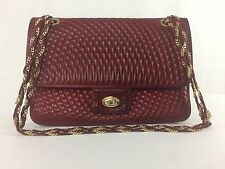VTG BALLY Quilted Double Flap Chain Shoulder Bag Turnlock Red Leather Made Italy