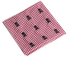 NEW Embroidered Skull Crossbones Gingham Pocket Square Handkerchief Rugby
