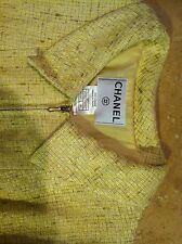 CHANEL RUNWAY CHANEL LOGO YELLOW COTTON&CC SILK LINED CLASSIC DRESS 44 WEAR1,$5k