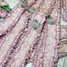 "23"" FRENCH PINK RIBBONWORK RUCHED TIE BACK ROSETTE ROCOCO JACQUARD DOLL DRESS"