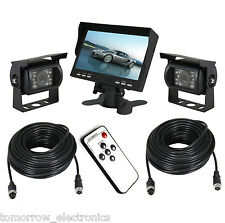 "New 7"" TFT Monitor Waterproof Car Rear View Night Vision Backup 2 Camera System"