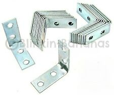 "20 ZINC PLATED 2"" L SHAPE RIGHT ANGLE CORNER BRACE JOINT BRACKETS SHELF SUPPORT"