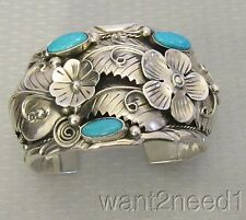 """huge xl CII 925 MEXICO STERLING TURQUOISE CUFF BRACELET flowers 2"""" massive 107g"""
