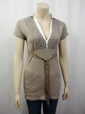 BRUNELLO CUCINELLI Long T-Shirt Tunika Gr.XL D40 Blusendetail Beige Weiß 1230