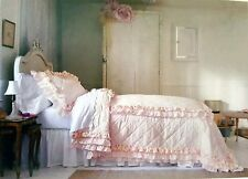 NEW SIMPLY SHABBY CHIC RACHEL ASHWELL PINK RUFFLE RED ROSES FLOWERS KING QUILT