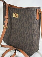 NWT MICHAEL KORS PVC Brown  MK Signature Travel Large Shoulder Bag Crossbody