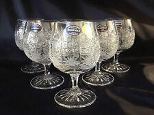 """CZECH CRYSTAL HAND CUT-  Brandy, cognac glasses 14cm / 5.5"""" 6pieces"""