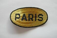 #2473 Gold,Black PARIS Word Badge Embroidery Iron On Applique Patch