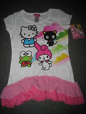 NWT HELLO KITTY & FRIENDS MELODY CHOCOCAT KEROPPI RUFFLE SHIRT SIZE XS 4-5 4 5