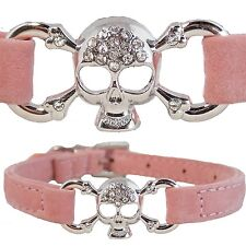 Medium Pink Suede Leather Bling Skull & Bones Pirate Collar for Dogs Puppy Cat