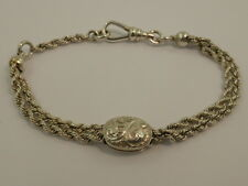 Antique Victorian Solid Sterling Silver Albertina Rope Chain Bracelet 19cm