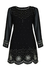 1920's Vintage Long Sleeve Chiffon Sequin Gatsby Flapper Cocktail Dress New 8-20