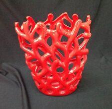 Vaso Da Fiori Decorativo 23 cm altezza Decorazione Design Moderno Ceramica rosso