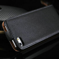 Premium Black Genuine Leather Wallet Flip Case Cover for iPhone SE 5S & 5