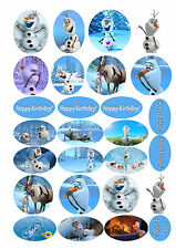 Frozen Olaf Edible Rice Wafer Paper Cupcake Cake Birthday Toppers