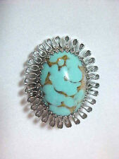 Large Faux Turquoise & Gold Tone Oval Deep  Pin Ribbin Edge Retro