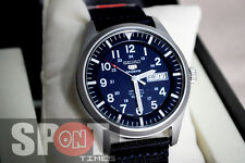Seiko 5 Sport Automatic Military Blue Nylon Strap Men's Watch SNZG11J
