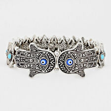 Hamsa Bracelet Evil Eye Stretch SILVER BLUE Hand Luck Protection Faith Jewelry
