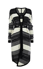 KAREN MILLEN NEW BLACK WHITE tweedy CHUNKY KNIT CARDI CARDIGAN COAT S  8 10 12