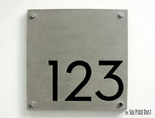Modern House Numbers,Square Concrete & Black Acrylic - Sign Plaque - Door Number