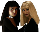 Ladies Long Straight Vamp Wig w/ Fringe Black Blonde Lady Gaga Fancy Dress