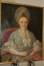 Antique Victorian Oil Painting C 1800's Portrait Of A Noble Woman W/Bonnet  Lace