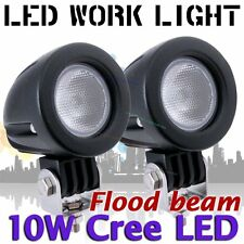 2X 10W CREE LED Work Light Offroad Round Flood Lamp Truck 4WD ATV 4X4 Motorcycl