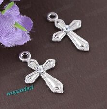 Wholesale Lot 100 Pcs Sword Shaped Rhinestone Cross Charms Free Ship 12X20mm