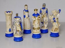 THE KNIGHTS TEMPLAR vs CRUSADERS CHESS MEN, STONE CAST SET - GREEK STYLING (837)