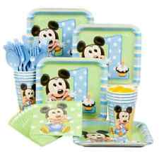 Disney Mickey Mouse 1st/First Birthday Boy Party Kit for 8 Plates/Napkins/Cups
