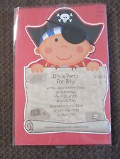 NIB-Boys, PIRATE, TREASURE MAP, Birthday Party Invitations, 8 Count, Printable!