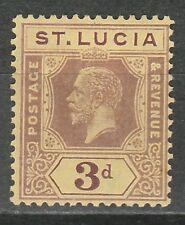 ST LUCIA 1912 KGV 3D WMK MULTI CROWN CA DIE II